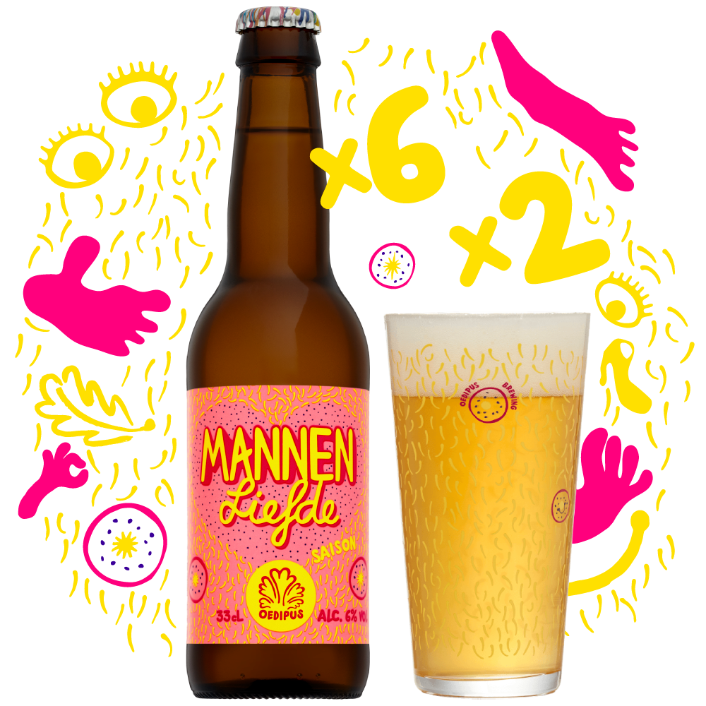 """<p>6-pack + 2 Mannenliefde glazen - €15,00 - """"Good things come in pairs, like balls and nipples.""""</p>"""