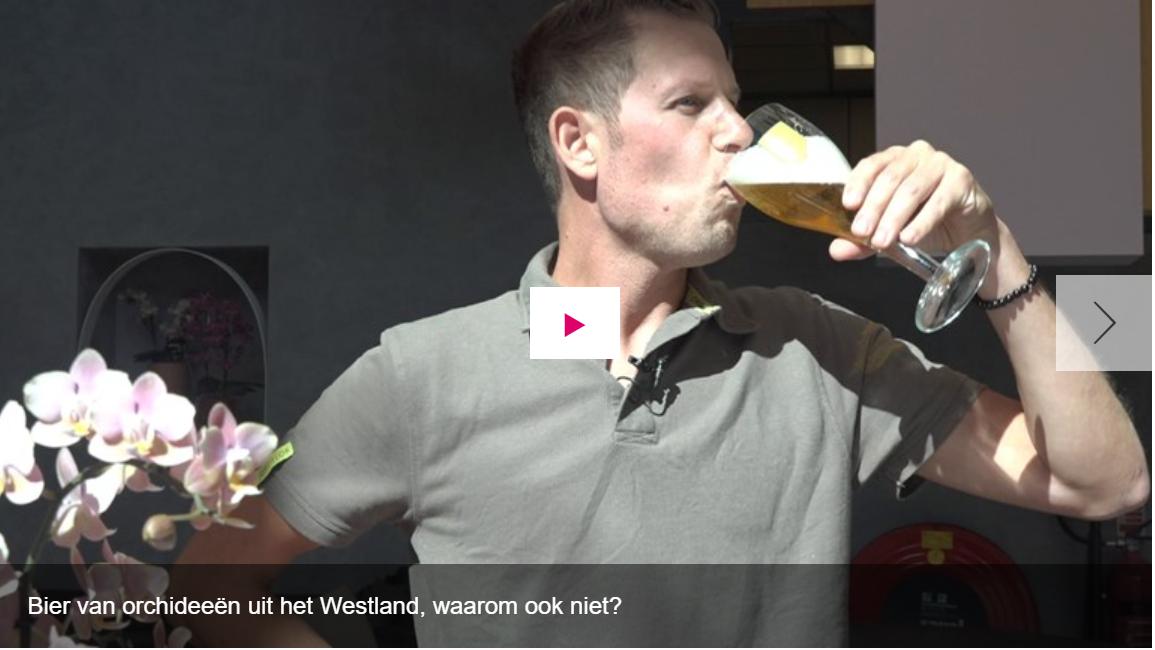 <p>video (screenshot) - Bier van orchideeën uit het Westland, waarom ook niet?</p>