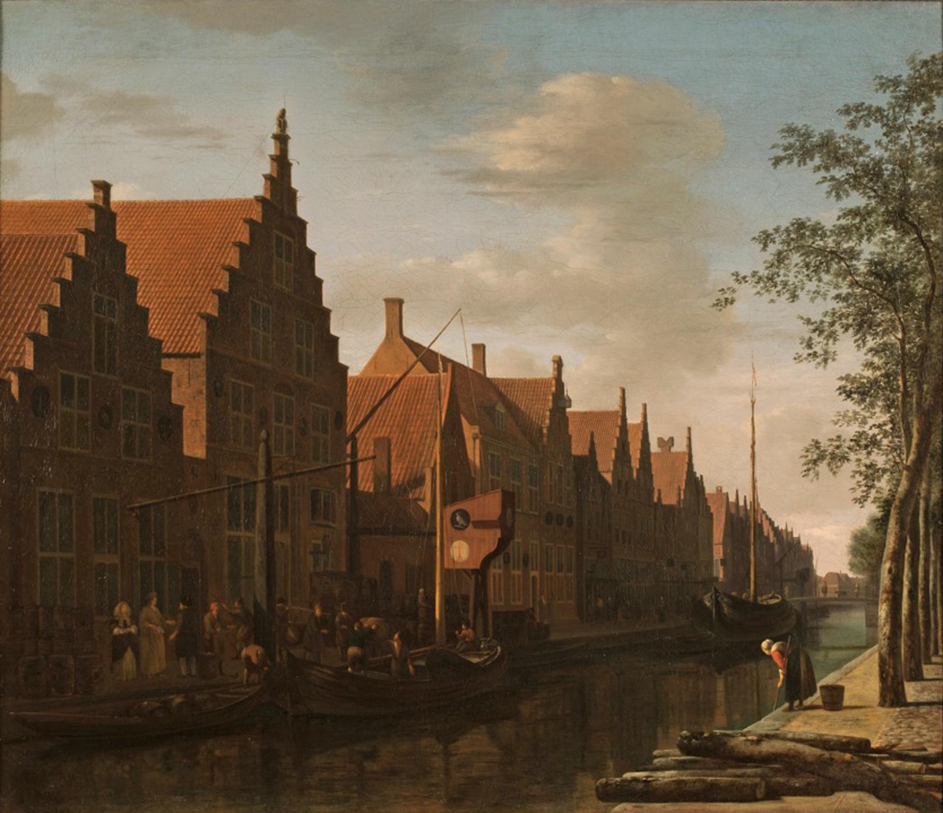 <p>Gezicht op de Bakenessergracht met de brouwerij De Passer en De Valk, Gerrit Adriaensz Berckheyde, 1662, collectie Frans Hals Museum</p>