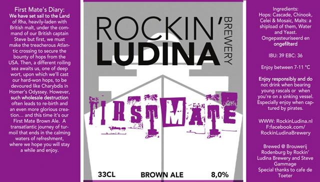 <p>Etiket van het eerste bier van de Rockin&#39; Ludina Brewery: Firstmate Brown Ale</p>